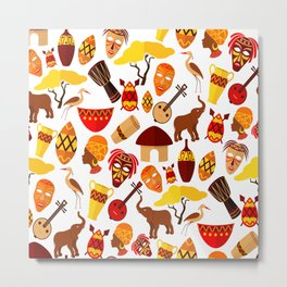Colorful African animals and symbols pattern Metal Print