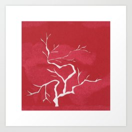 Small red tree Art Print