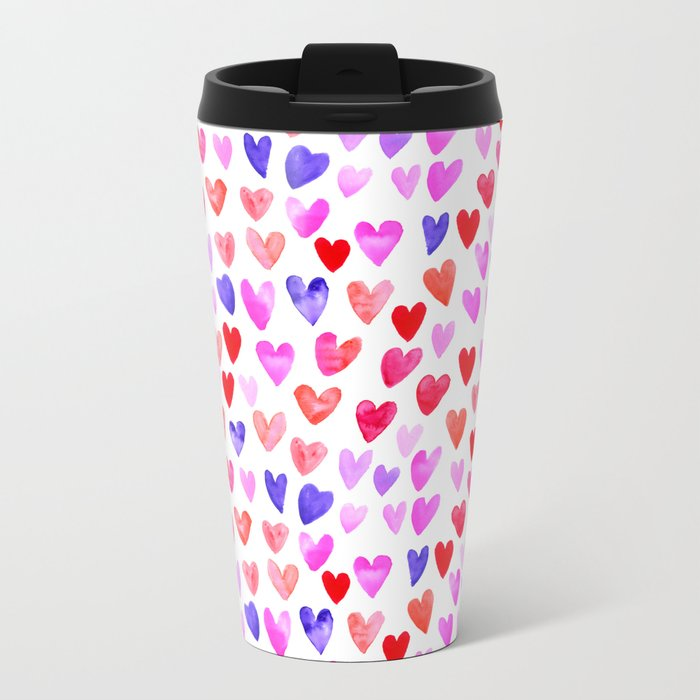 Watercolor Hearts pattern love gifts for valentines day i love you Metal Travel Mug