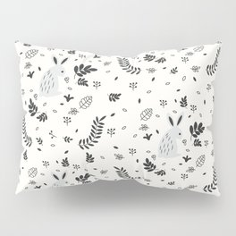 Hand painted cute black white rabbit watercolor floral Pillow Sham