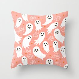 Friendly Ghosts in Pink Throw Pillow