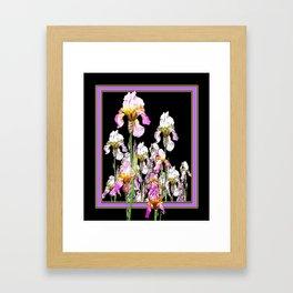 White-Purple Iris Garden Lilac-Black Design Framed Art Print