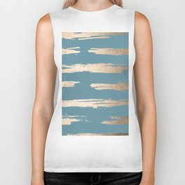 Abstract Painted Stripes Gold Tropical Ocean Blue Biker Tank
