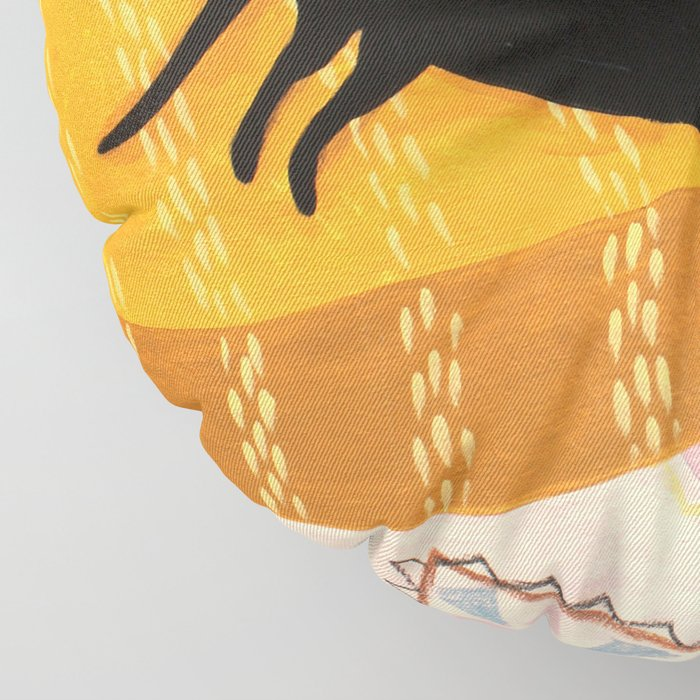black cat on mustard yellow sofa painting by Tascha Floor Pillow