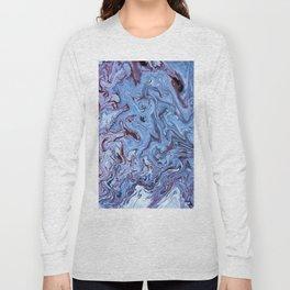 Periwinkle Abstract Acrylic Swirl Long Sleeve T-shirt