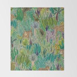 Jungle Tigers by Veronique de Jong Throw Blanket