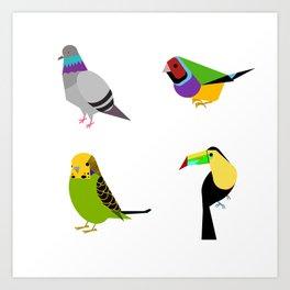 geometric bird print Art Print