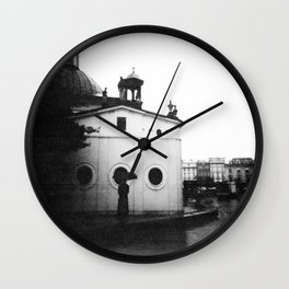 Rain in Krakow, Poland - Holga Black and White Wall Clock