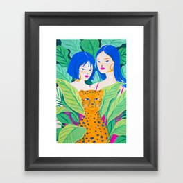 Girls and Panther in Tropical Jungle Framed Art Print