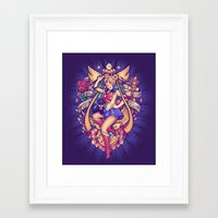 sailormoon Framed Art Prints featuring In the Name of the Moon by Megan Lara