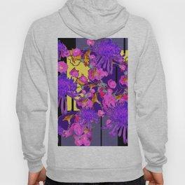 Purple Spider Mums Black & Grey Art Pink Flowers Hoody