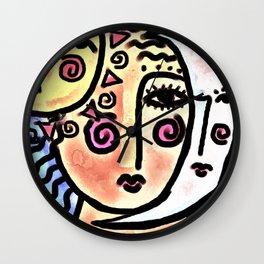 Woman Sun Moon Abstract Digital Painting Wall Clock
