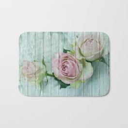 Vintage Shabby Chic Pink Roses On Wood Bath Mat