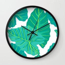 Giant Elephant Ear Leaves in White Wall Clock