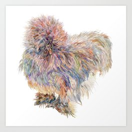 Silkie Chicken - Sweety Poof Art Print