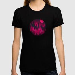 Dark Triangles (Peak Woods) Abstract Grunge Mountains Design (red/black) T-shirt