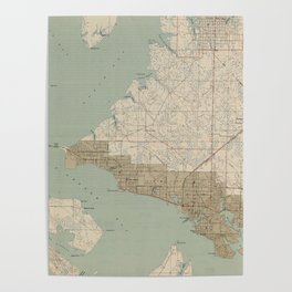 Vintage Map of Panama City FL (1943) Poster
