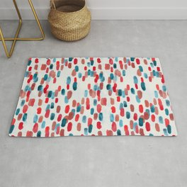 Watercolor Ovals - Red, Blue & Cream Rug