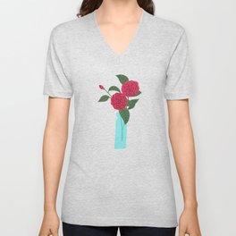 Floral drawing I: camellia Unisex V-Neck