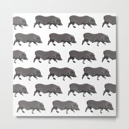 Fat Little Pig Pattern Metal Print