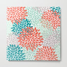 Floral Pattern, Living Coral, Teal and Mint Green Metal Print