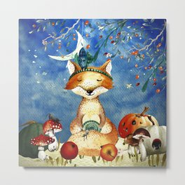 Autumn Woodland Friends Fox Forest Illustration Metal Print