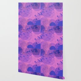 geometric circle and square pattern abstract in pink purple Wallpaper