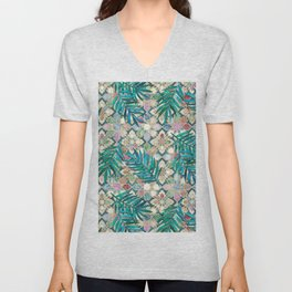 Muted Moroccan Mosaic Tiles with Palm Leaves Unisex V-Neck