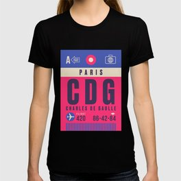 Retro Airline Luggage Tag - CDG Paris Charles de Gaulle T-shirt