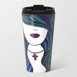 Beach Mermaid Lady Metal Travel Mug