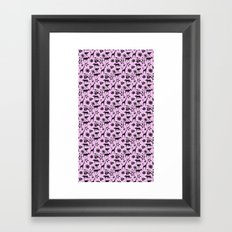 Flowers and Animals Pink Pattern Framed Art Print