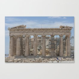 Modern and Ancient - Parthenon at Acropolis of Athens Under Construction Canvas Print