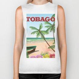 Tobago beach travel poster Biker Tank