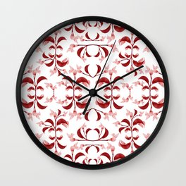 Floral Print Modern Pattern in Red and White Tones Wall Clock