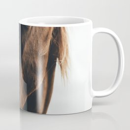 BROWN HORSE EATING GRASS DURING CLOUDY SKY Coffee Mug