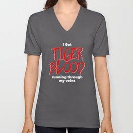 Tiger Blood on black Unisex V-Neck