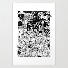Caminata de fiesta Art Print