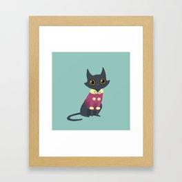 Cozy cat red Framed Art Print