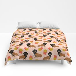 Hot Dog weener Dachshund breed cute weiner dog owner pet portrait funny junk food hot dog  Comforters