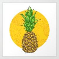 Juicy Pineapple Art Print
