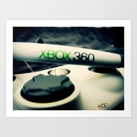xbox Art Prints featuring Xbox controller by Keegan Rigby