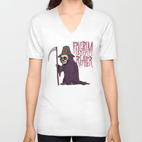 scott pilgrim V-neck T-shirts featuring PilGrim Reaper by Chris Piascik