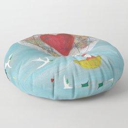 Christmas Santa Claus in a Hot Air Balloon for Peace Floor Pillow
