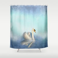 swan Shower Curtains featuring Swan by haroulita