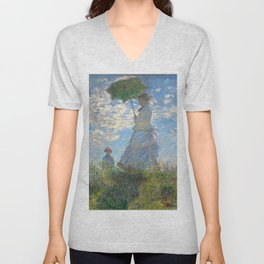 Monet - Madame Monet and Her Son - 1875 Unisex V-Neck