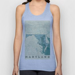 Maryland State Map Blue Vintage Unisex Tank Top