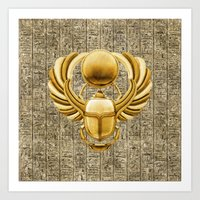 Gold Egyptian Scarab Art Print