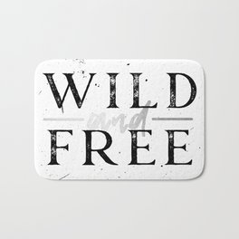 Wild and Free Silver on White Bath Mat