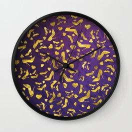 High Heels Gold shoe pattern Wall Clock