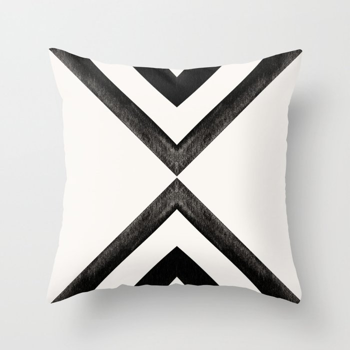 Converging Triangles Black and White Moroccan Tile Pattern Throw Pillow